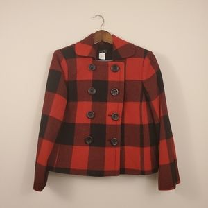 J CREW red and black wool plaid check coat jacket